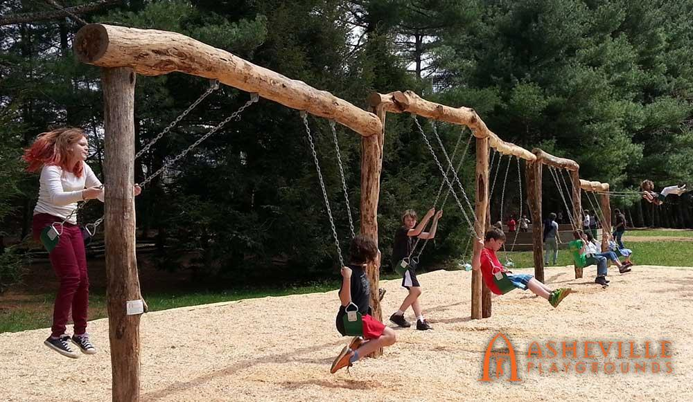 5 Bay Locust Log Swing Set