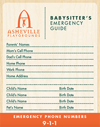 Babysitter's Emergency Guide from Asheville Playgrounds