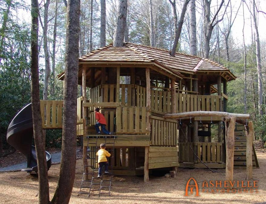 Large treehouse playground cedar roof Fairview NC