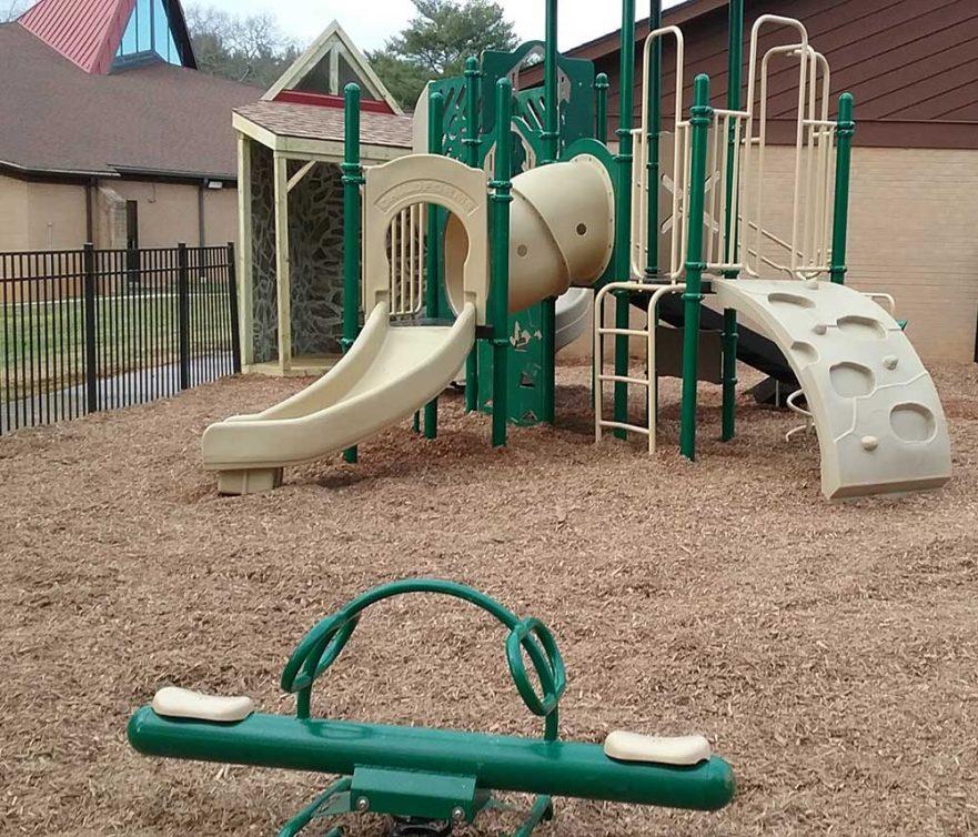 Church Playground Wood Playhouse Metal Post