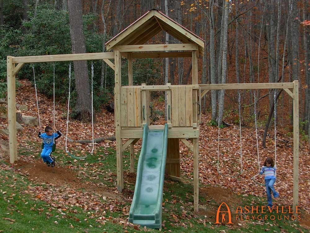 Residential Dual Swing Set Fort