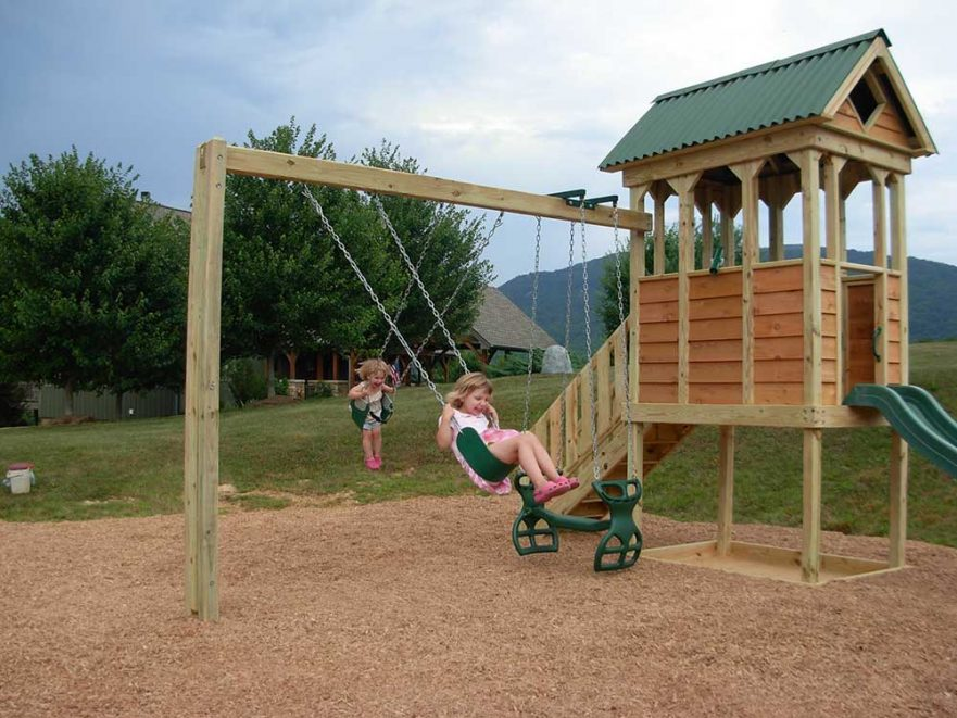 Fort with Attached Swing Set