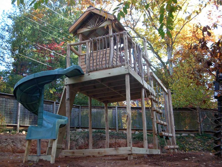 Rustic Handrails and Spiral Slide Fort