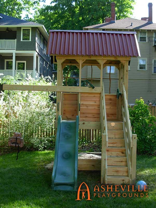 Residential Fort with Stairs and Swing