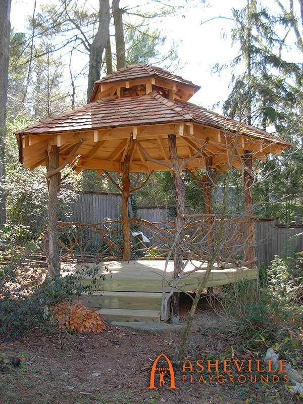 Natural Locust and Rhododendron Gazebo