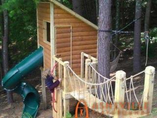 Backyard Cabin Fort Rope Bridge
