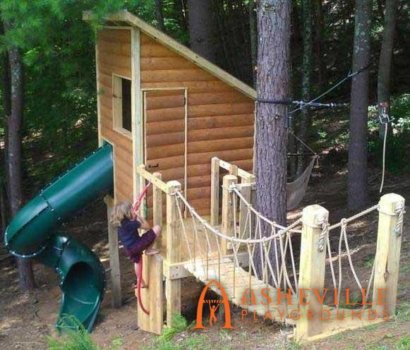 Backyard Cabin Fort Rope Bridge