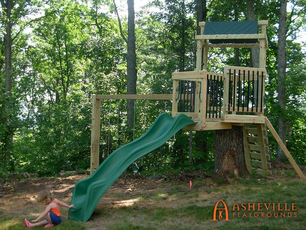 Play Set Built on Stump Home Deck Pickets
