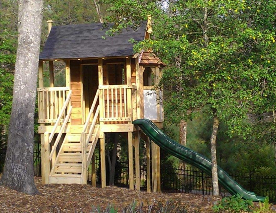 Themed Playhouse to Match Bay Windows and Porch