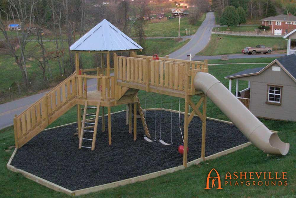 Playset with Swing Catwalk to Tube Slide