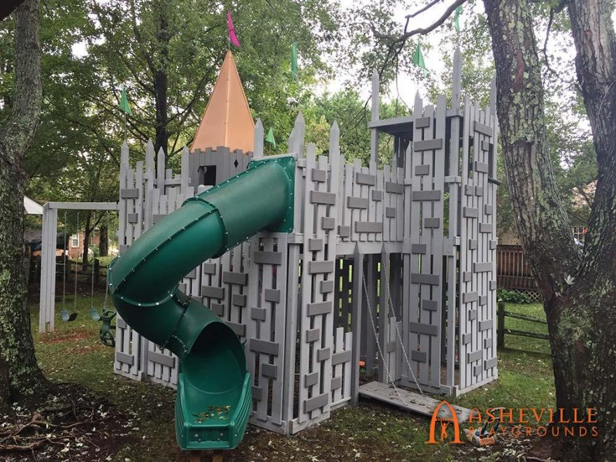 Castle Themed Playground With Swings, Drawbridge, and Spiral Slide - Asheville Playgrounds