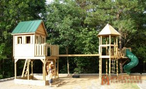 Cedar Lap Cabin with Bridge, Rope Ladder, and Spiral Slide - Asheville Playgrounds