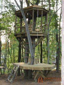 Double Deck Tree Fort with Trap Door, Ladder, Pulleyed Basket - Asheville Playgrounds