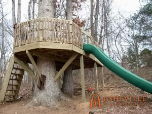 Large Tree Deck with Stairs and Slide - Asheville Playgrounds