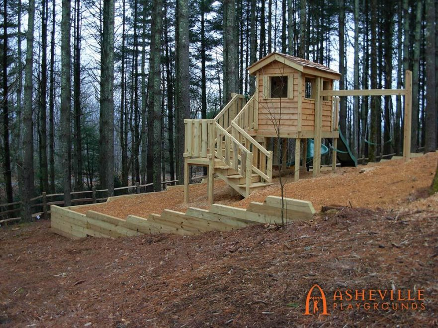 Wooden Playhouse Retaining Wall Slides Swings Stairs