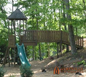 Residential Playground on Hill with Bridge, Slide, Swings, and Teeter Totter - Asheville Playgrounds