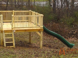 Tree Deck with Slide and Rock Climbing Grips