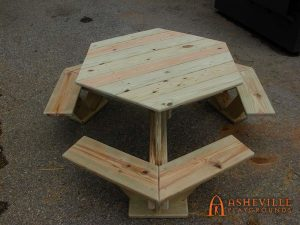 Wooden Hex Picnic Table - Asheville Playgrounds