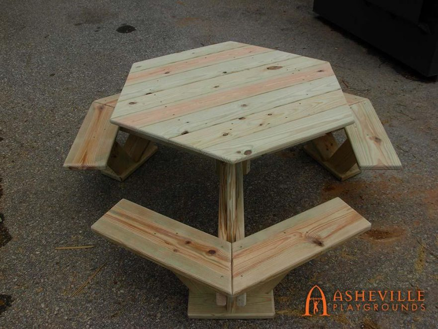 Wooden Hexagonal Picnic Table