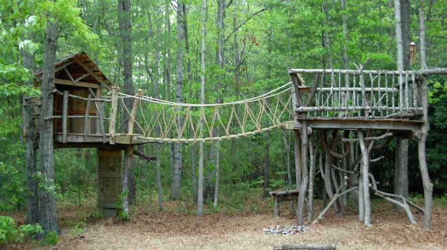 Rope Bridge Between Two Rustic Decks