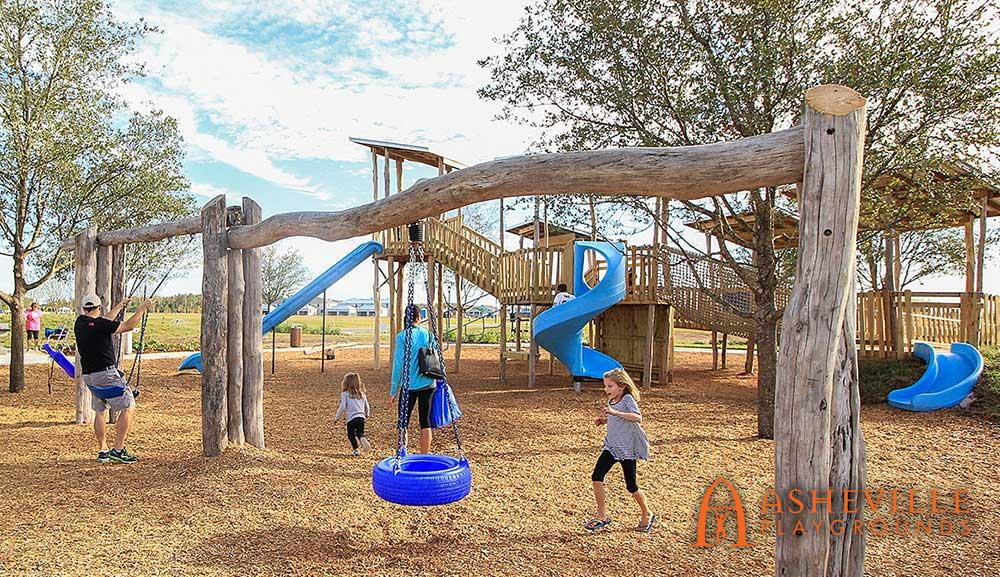 Large Natural Locust Swing Set Playground