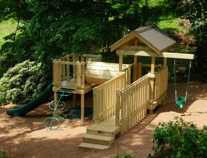 Side Yard Playset on Hill