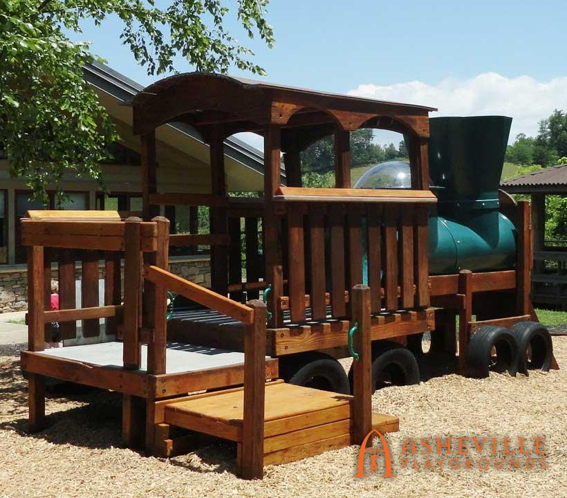 Train play set first built in 2003 New stain and mulch in 2016