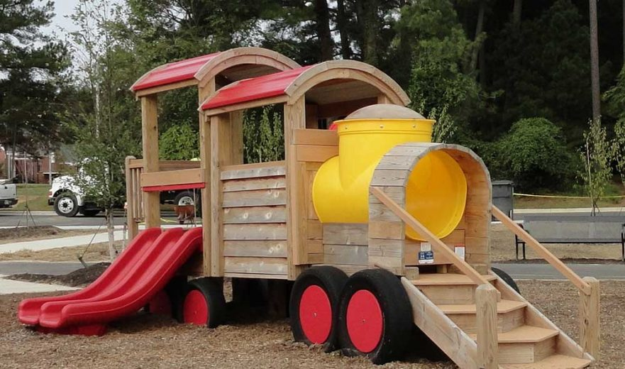 Train play set at Knightdale Station Park