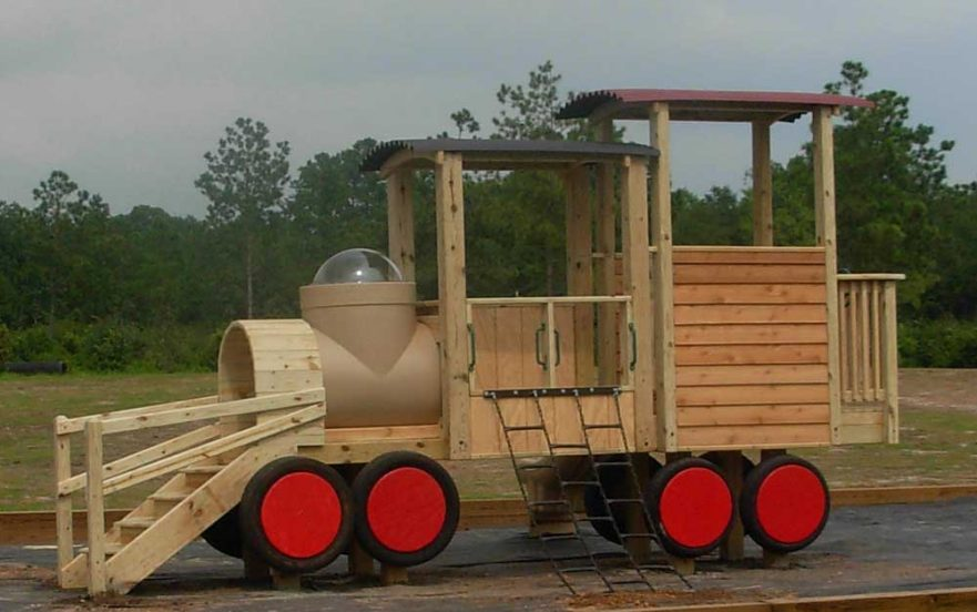Train Theme Playground with Cow Catcher Steps
