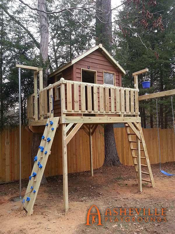 Tree Deck Cabin Firepole Rockwall