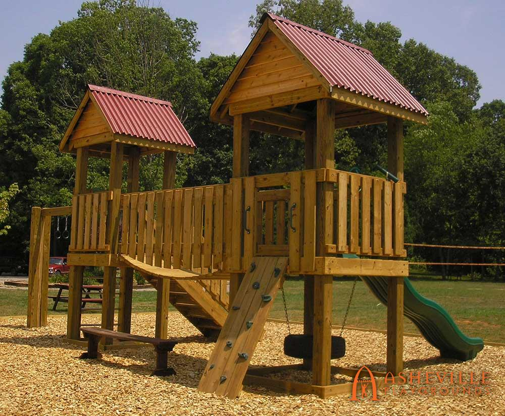 Two Platform Playground Bridge Tire Swing Bent Creek