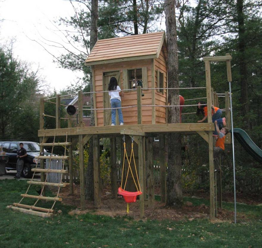 Whimsical Cabin Playset with Tilted Walls