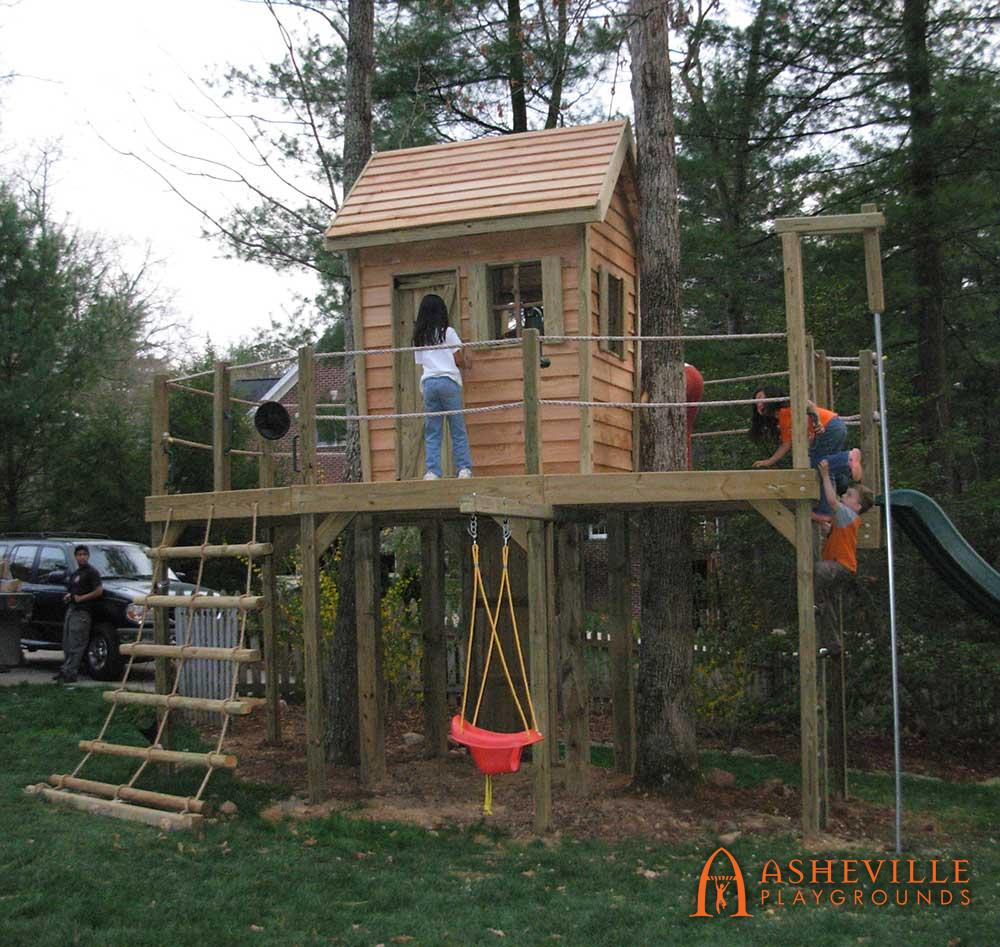 Residential Backyard Cabin Playground Tilted Walls