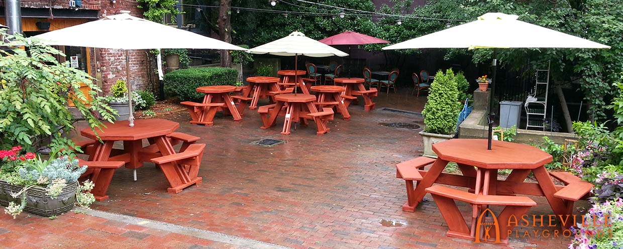 Custom Picnic Tables for Asheville Restaurant - Asheville Playgrounds