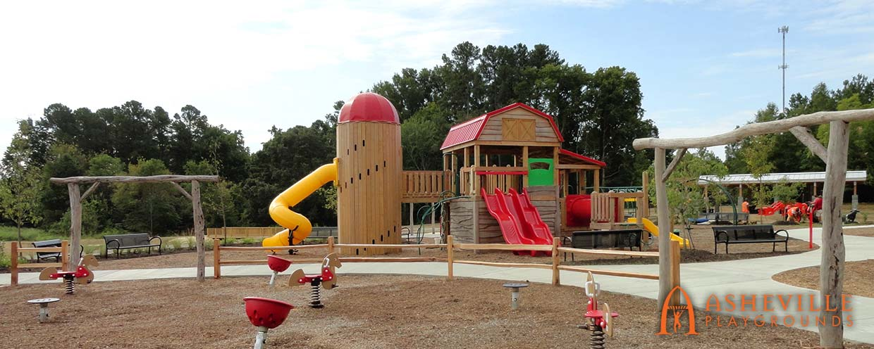 Knightdale Station Park - Barn and Silo Playground