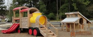 Train Themed Play Set with Chicken Coop at Knightdale Station Park