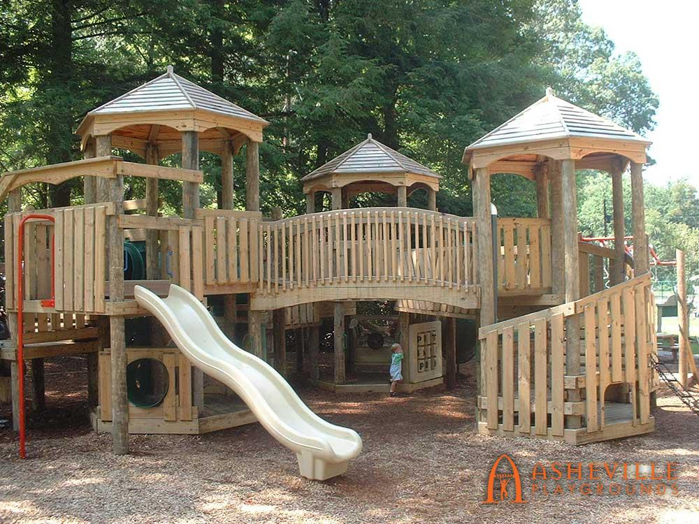 Front View Robert Lake Park Playground in Montreat NC