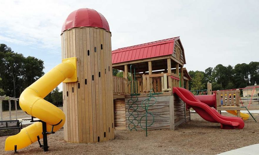 Locust Barn and Silo Playground Sideview