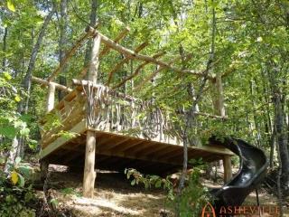 Unique Natural Wood Pergola Over Deck