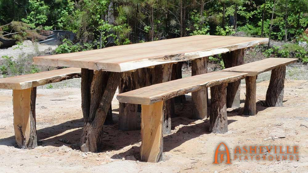 Unique Live Edge Picnic Table with Benches