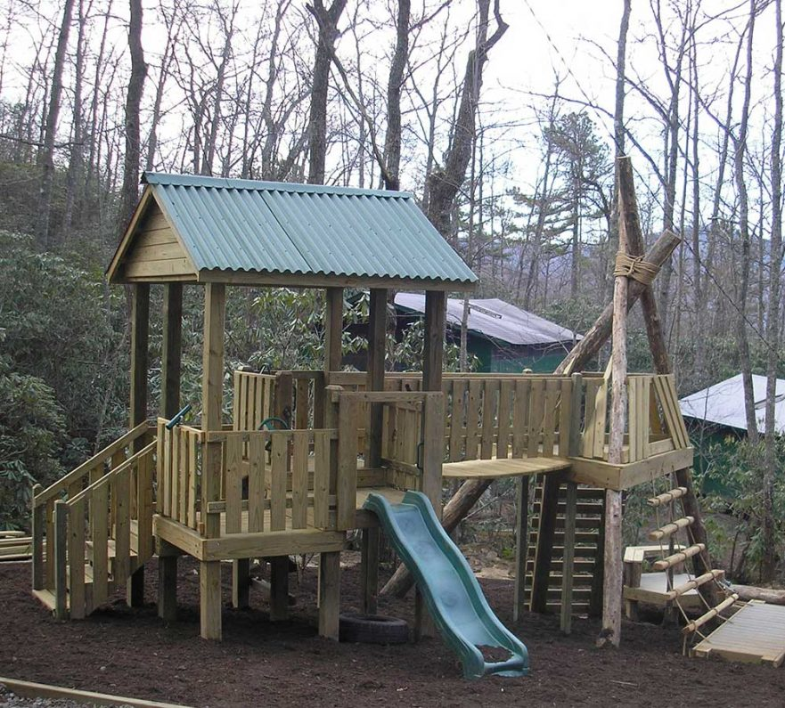 Log Teepee and Fort Playground