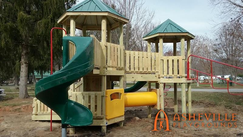 Playground Spiral Slide Crawl Tunnel KOA
